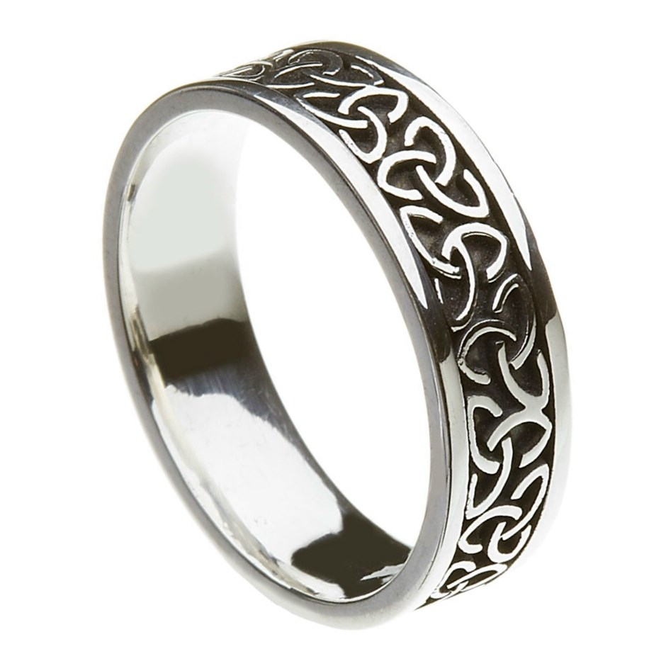 solid knot silver band celtic wedding rings