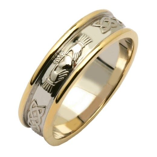 Claddagh Amp Celtic Knot Two Tone Wedding Band