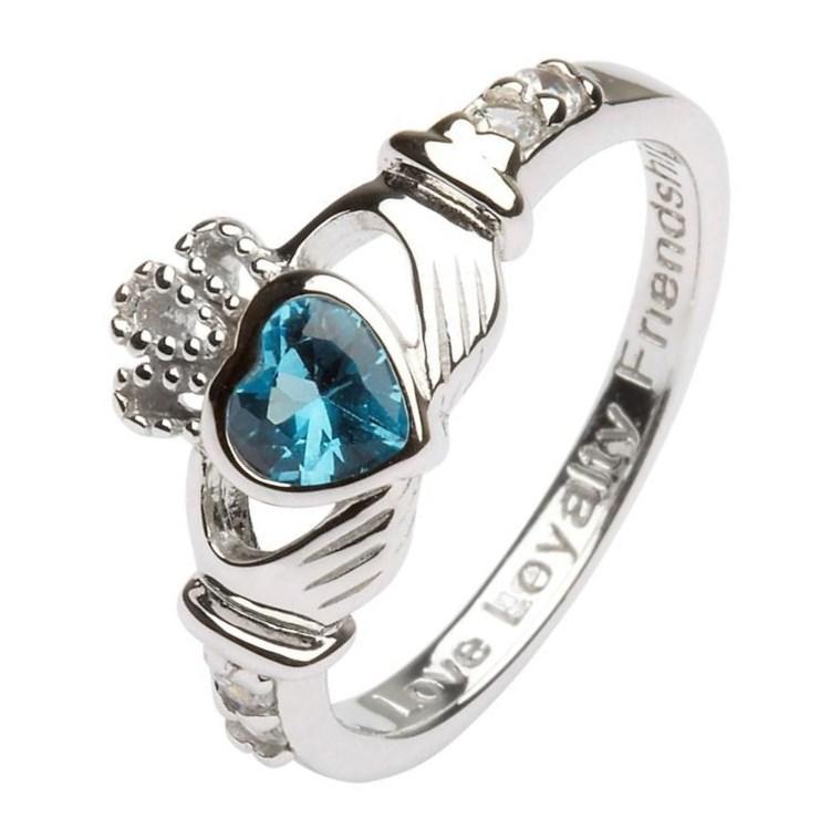 December Birthstone Claddagh Ring