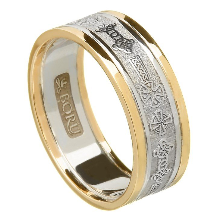 Celtic Cross Wedding Ring With Trim